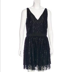 NWT ROBERT RODRIGUEZ lace black metallic dress